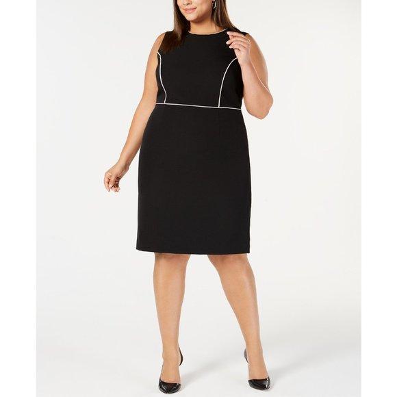 NWT KASPER Plus Size Piped-trim Sheath Dress, 18W